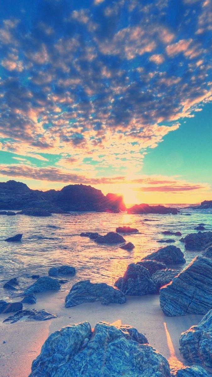 Amazing Beach Sunset iPhone wallpaper iphoneswallpapers com
