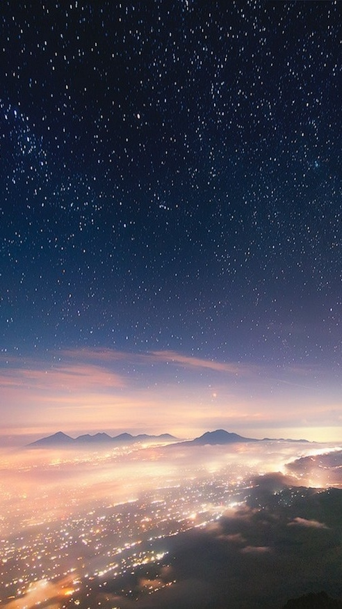 Bali Indonesia Night View From Mountain iPhone Wallpaper iphoneswallpapers com