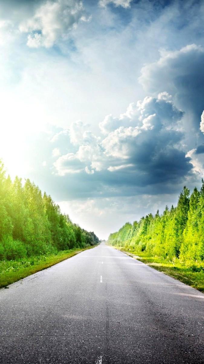 Beautiful road sunshine way iphone wallpaper iphone wallpapers - Beautiful country iphone backgrounds ...