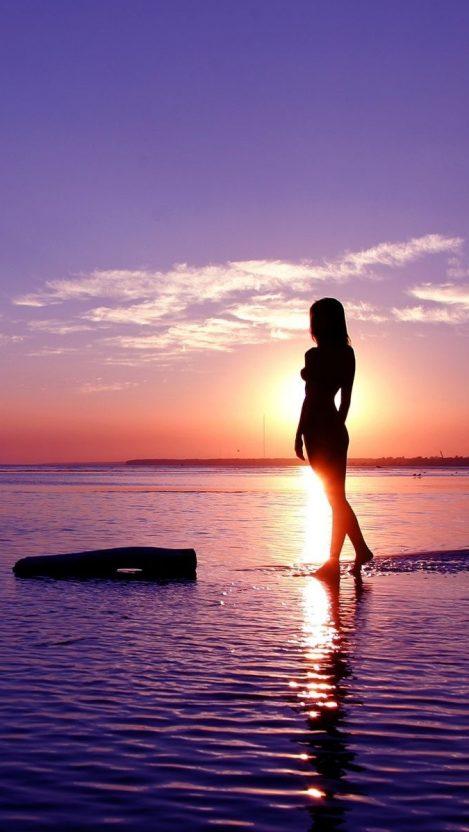 Girl In Sunset Sea IPhone Wallpaper