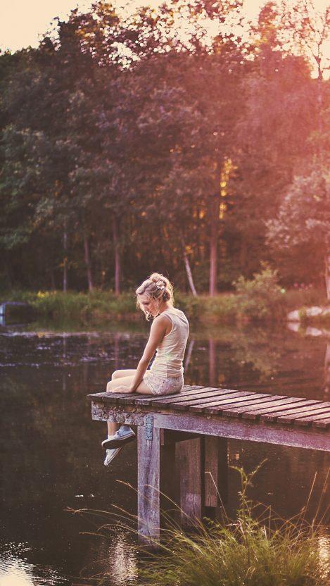Girl in nature lake iPhone Wallpaper iphoneswallpapers com