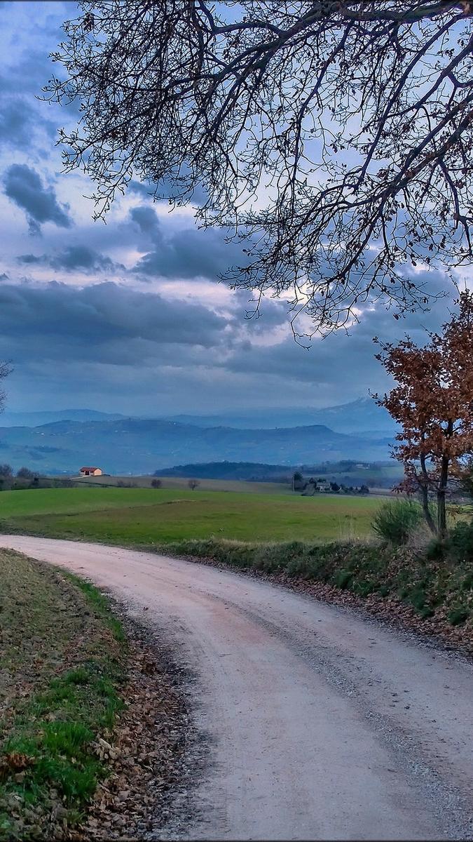 landscape nature autumn road sky clouds iPhone Wallpaper iphoneswallpapers com