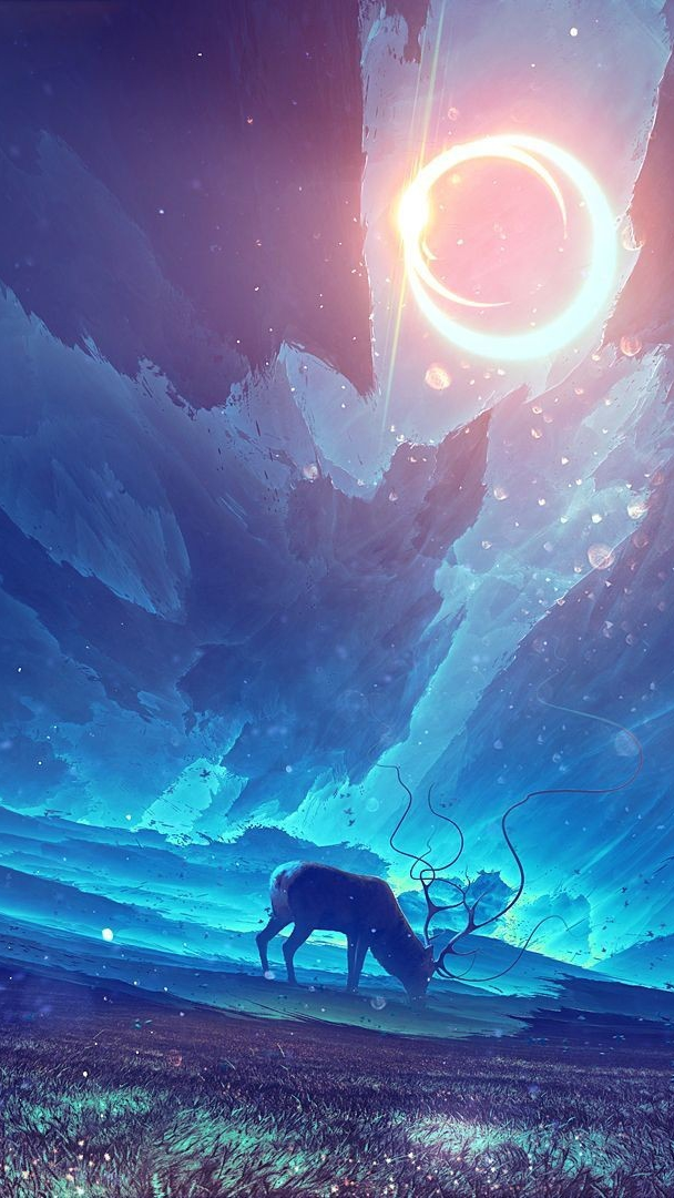Deer-in-Dark-World-Art-iPhone-Wallpaper