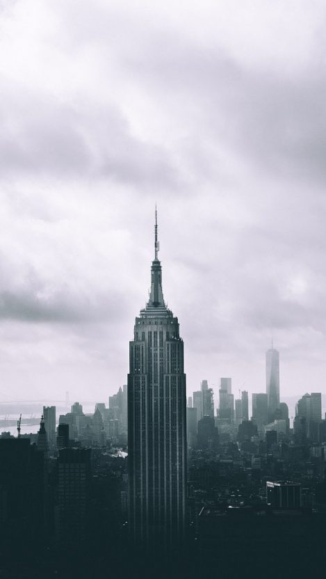 Empire State Building Mist Black and White iPhone Wallpaper iphoneswallpapers com