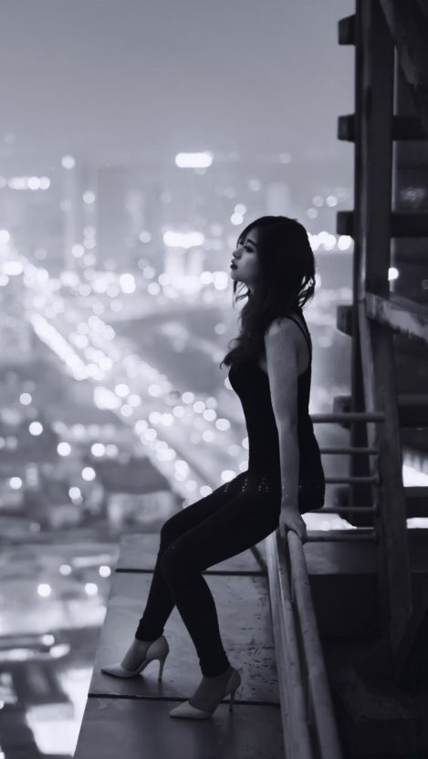 Girl on Building Rooftop Deck iPhone Wallpaper iphoneswallpapers com