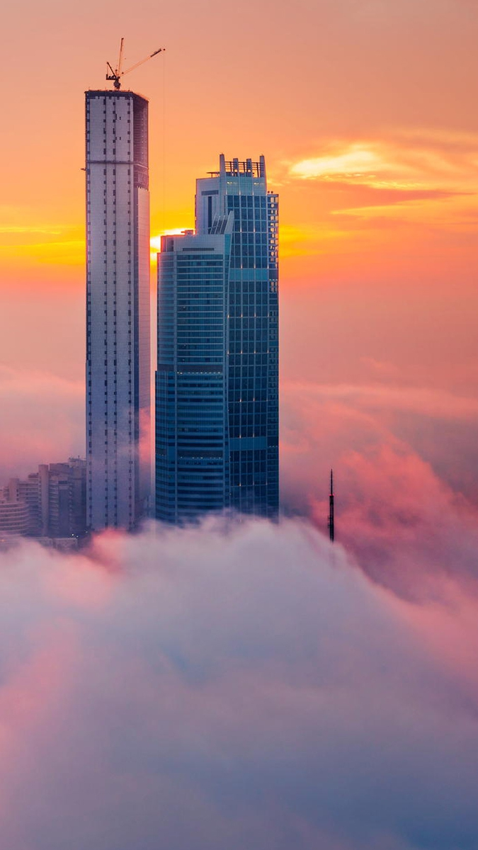 Cloudy Towers Abudhabi iPhone Wallpaper iphoneswallpapers com