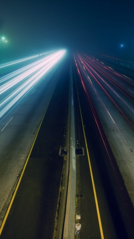 Highway High Traffic Fast Cars Long Exposure iPhone Wallpaper iphoneswallpapers com
