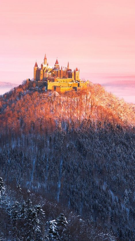 Hohenzollern Germany House on Mountains iPhone Wallpaper iphoneswallpapers com