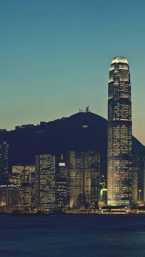 Hong Kong City in Night Panorama iPhone Wallpaper iphoneswallpapers com