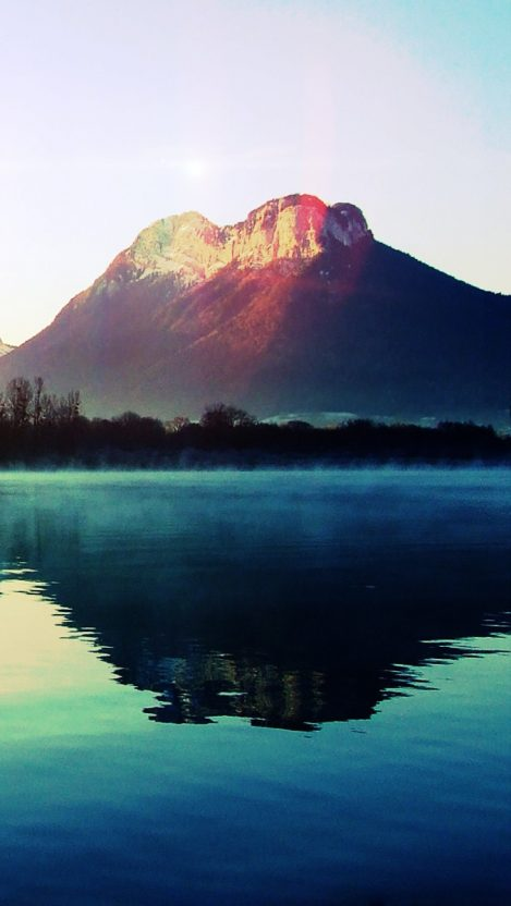 fog lake landscape iPhone Wallpaper iphoneswallpapers com