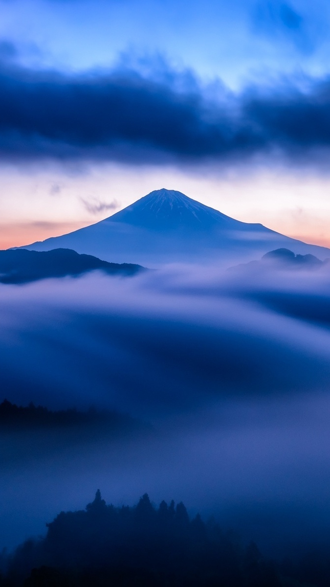 Mountain Snow Sky Mist Blue Sunset Clouds Iphone Wallpaper