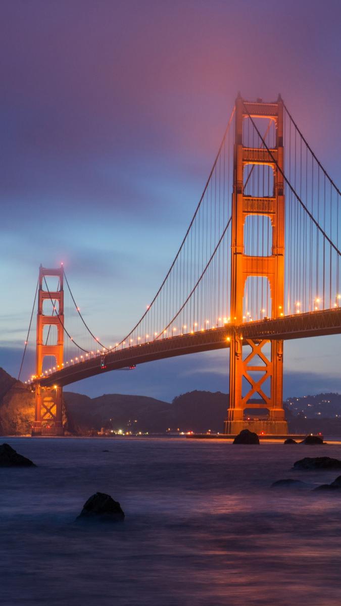 golden gate bridge night iphone wallpaper