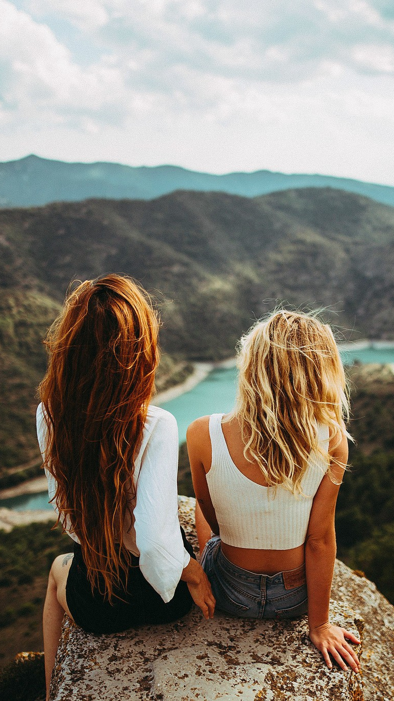 Long Hair Blonde Girls Sitting Outdoors Mountains iPhone Wallpaper iphoneswallpapers com