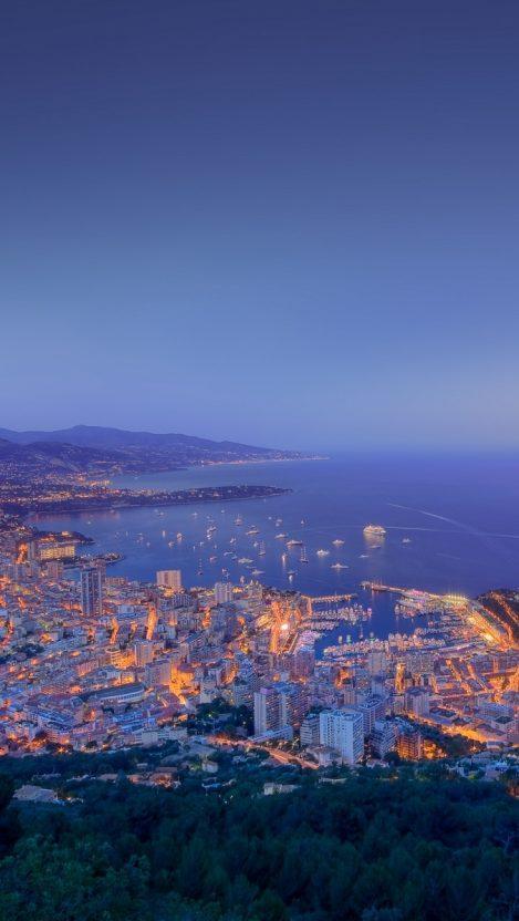 Monaco City Sunset View IPhone Wallpaper