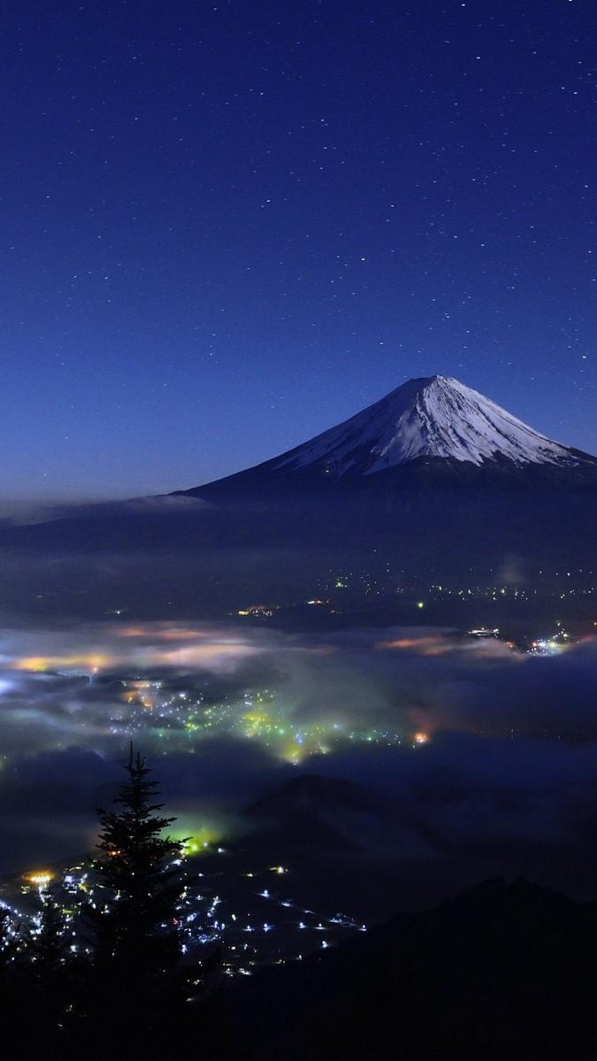Mount Fuji Japan Night View iPhone Wallpaper iphoneswallpapers com