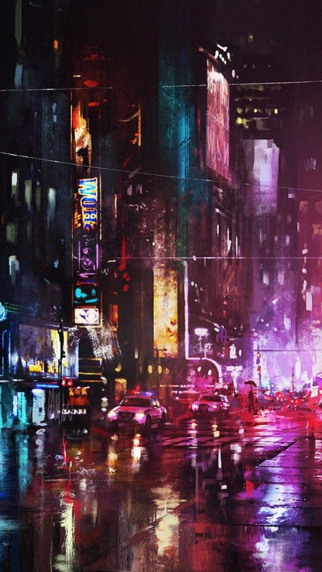 Oil Painting New York City in Night iPhone Wallpaper iphoneswallpapers com