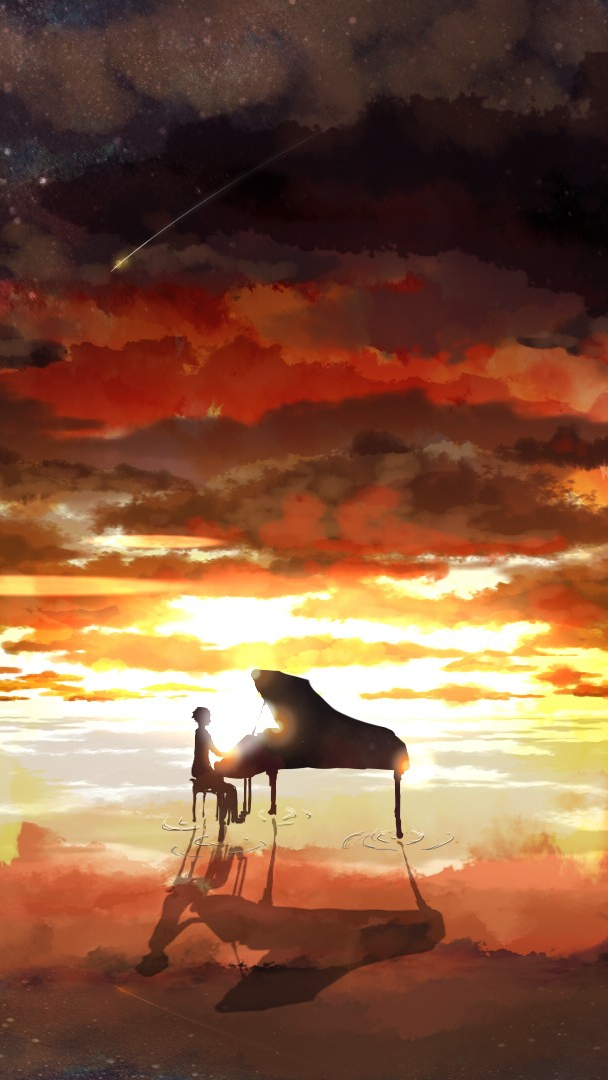 Piano-Rising-Sun-Anime-iPhone-Wallpaper - iPhone Wallpapers