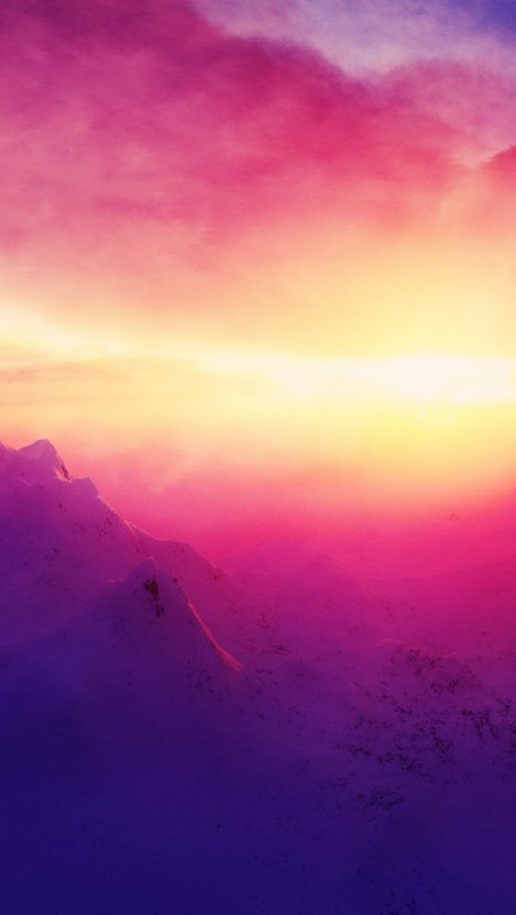 Pink Sunrise Mountains IPhone Wallpaper