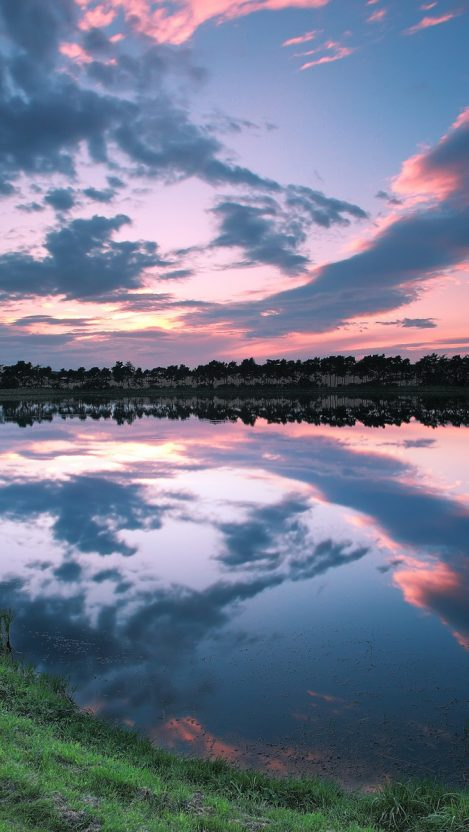 United Kingdom England coast lake reflection evening sunset iPhone Wallpaper iphoneswallpapers com