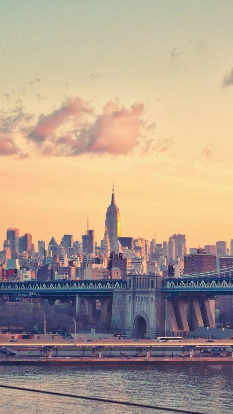 new york manhattan bridge iPhone Wallpaper iphoneswallpapers com