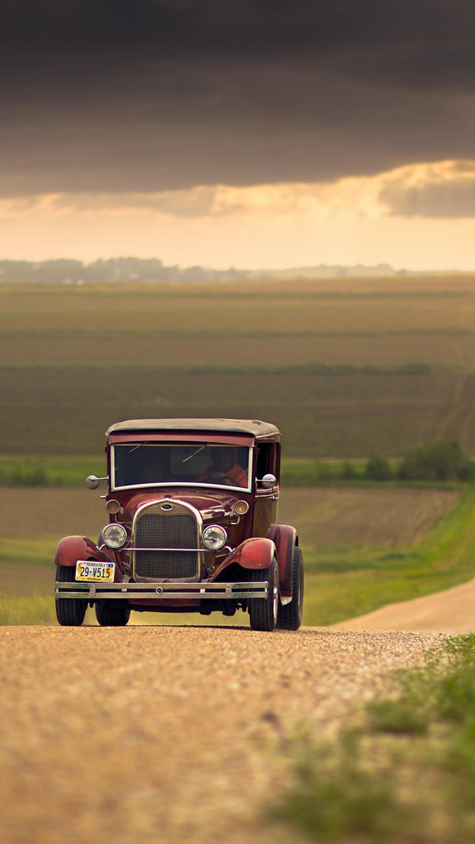 vehicle vintage field clouds Nebraska United States iPhone Wallpaper iphoneswallpapers com