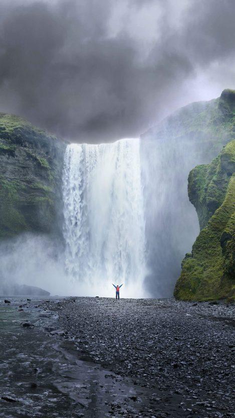 waterfall nature 5K iPhone Wallpaper iphoneswallpapers com