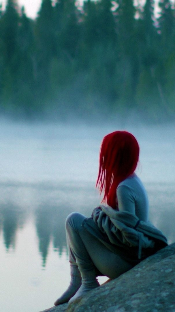 Red Hairs Girl Sitting near lake iPhone Wallpaper iphoneswallpapers com