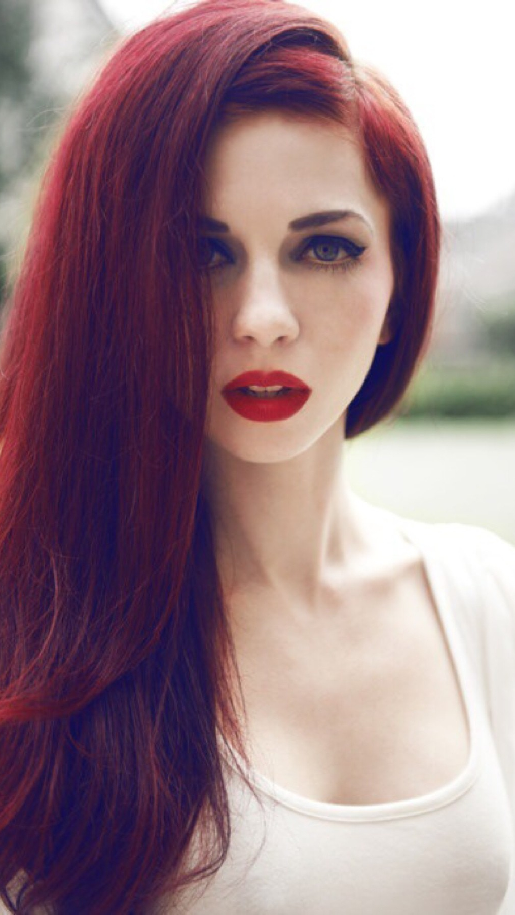 Red Hairs Red Lips Girl iPhone Wallpaper iPhone Wallpaper iphoneswallpapers com