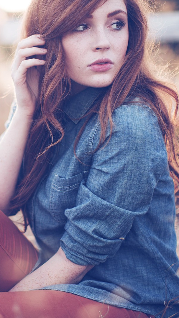 Red Head Girl in Farms iPhone Wallpaper iphoneswallpapers com