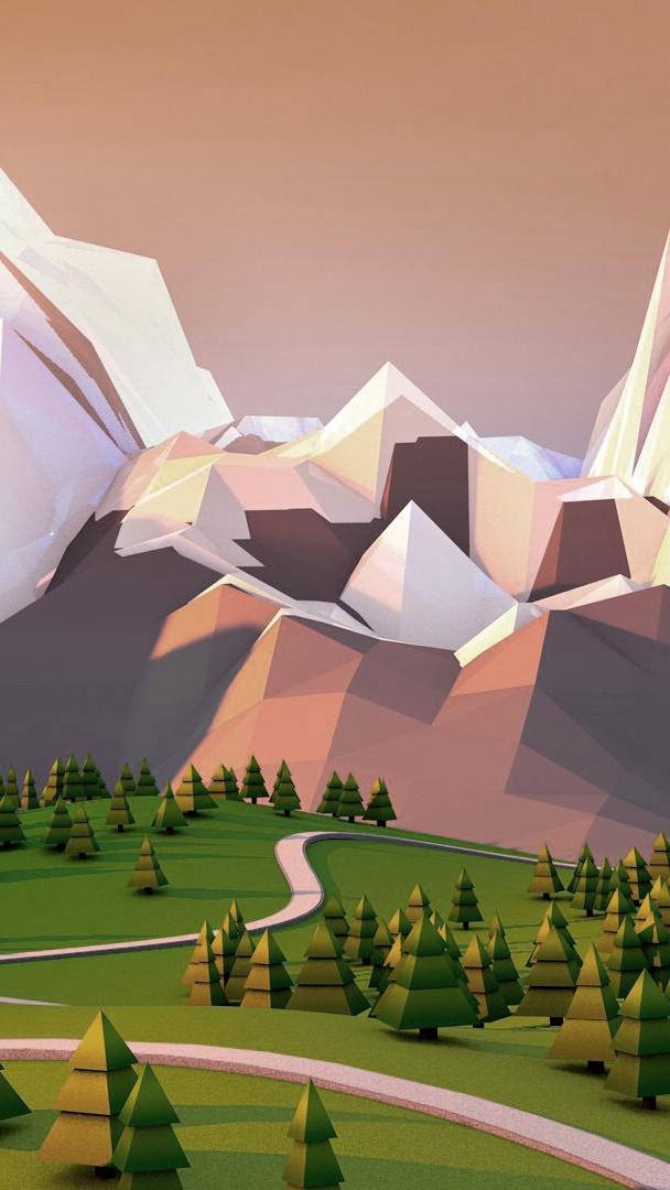 Rock Mountains Polygon Art iPhone Wallpaper iphoneswallpapers com