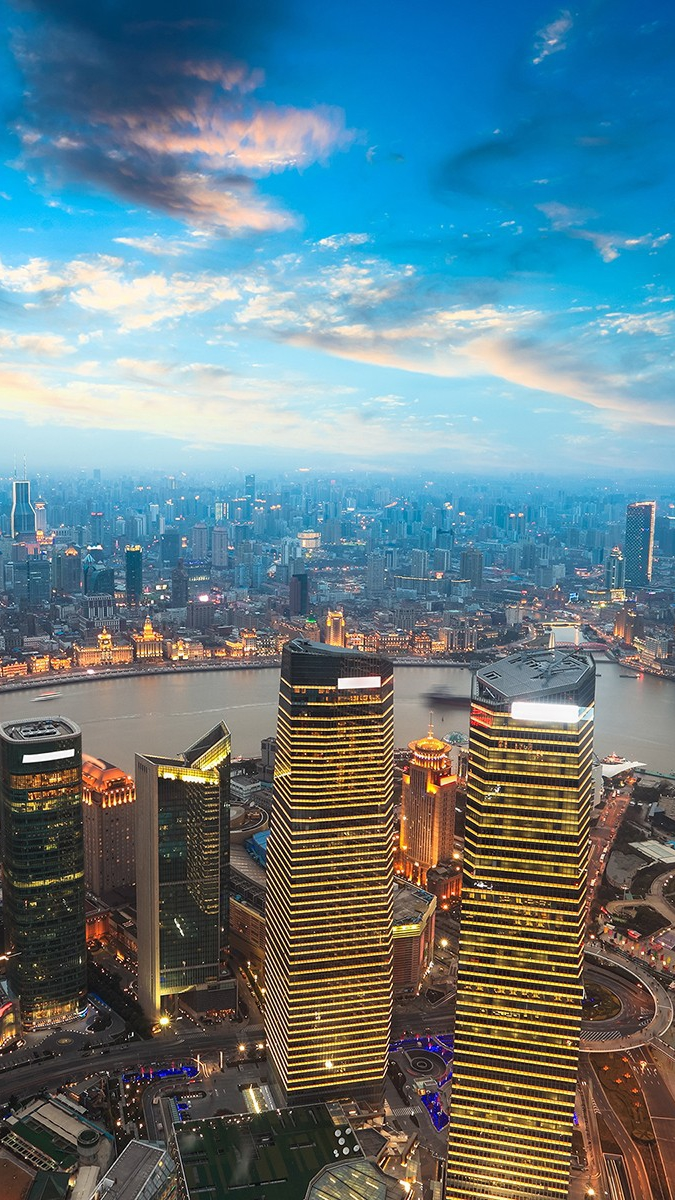 Shanghai Evening View iPhone Wallpaper iphoneswallpapers com