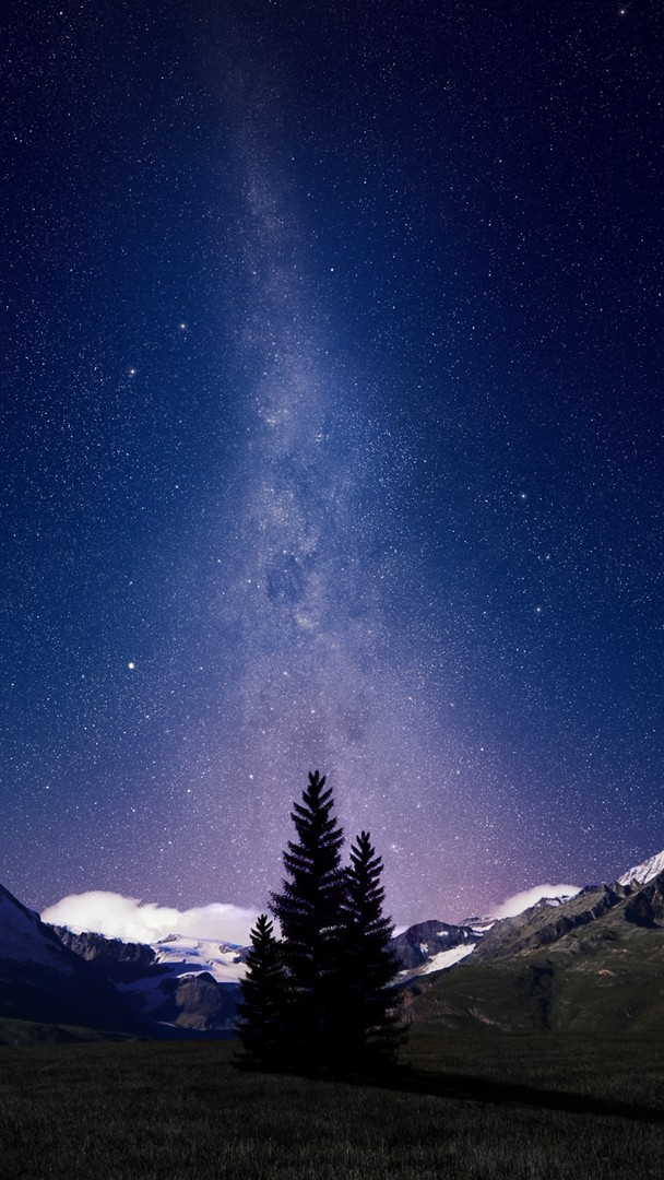 Space Galaxy View From Mountains iPhone Wallpaper iphoneswallpapers com