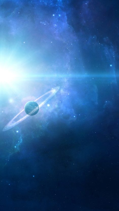 Space Planets Blue Galaxy iPhone Wallpaper iphoneswallpapers com