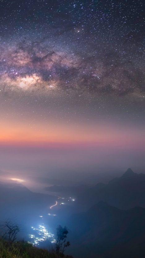 Starry Night Long Exposure Milky Way Galaxy IPhone Wallpaper