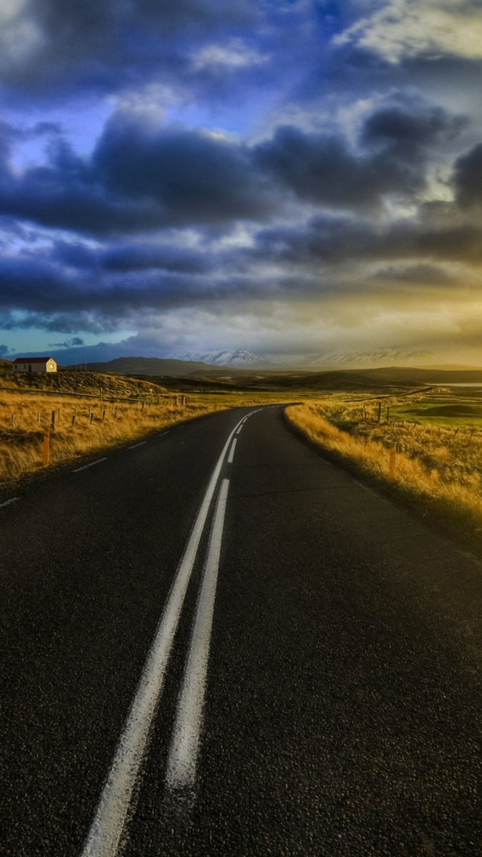 Sunset Road Evening iPhone Wallpaper iphoneswallpapers com