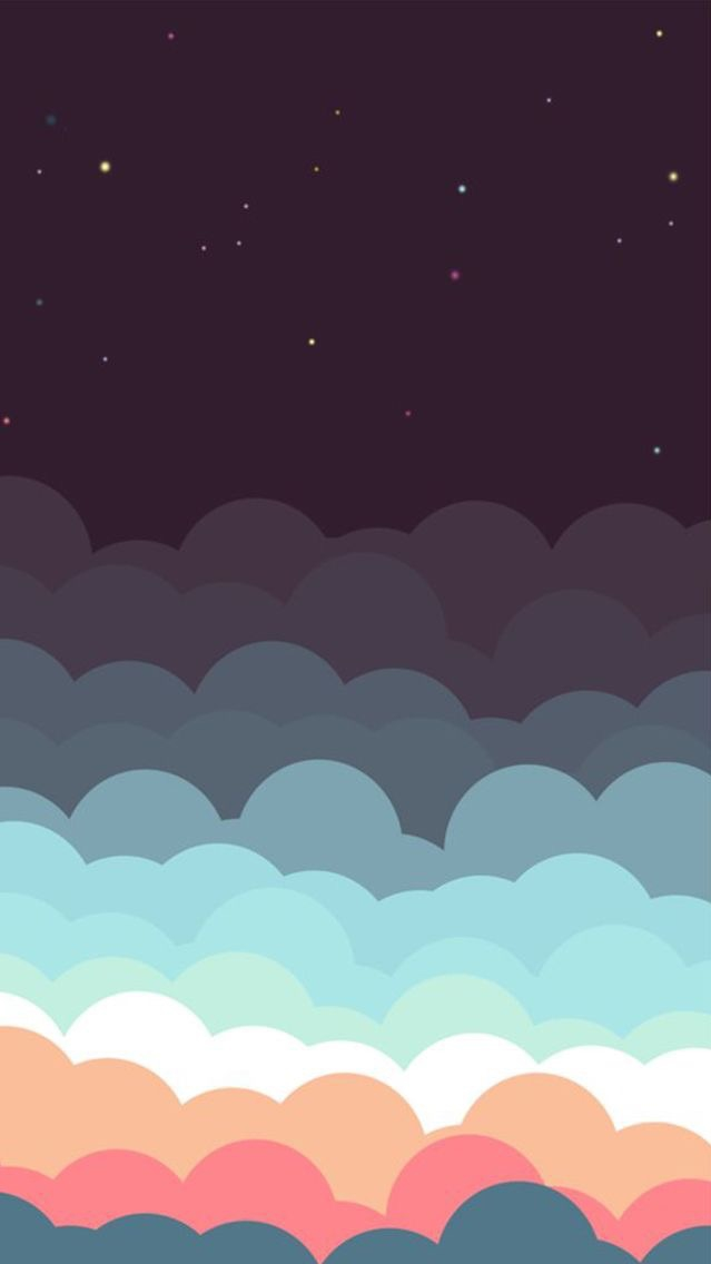Animated Colourful Clouds Sky Stars iPhone Wallpaper iphoneswallpapers com