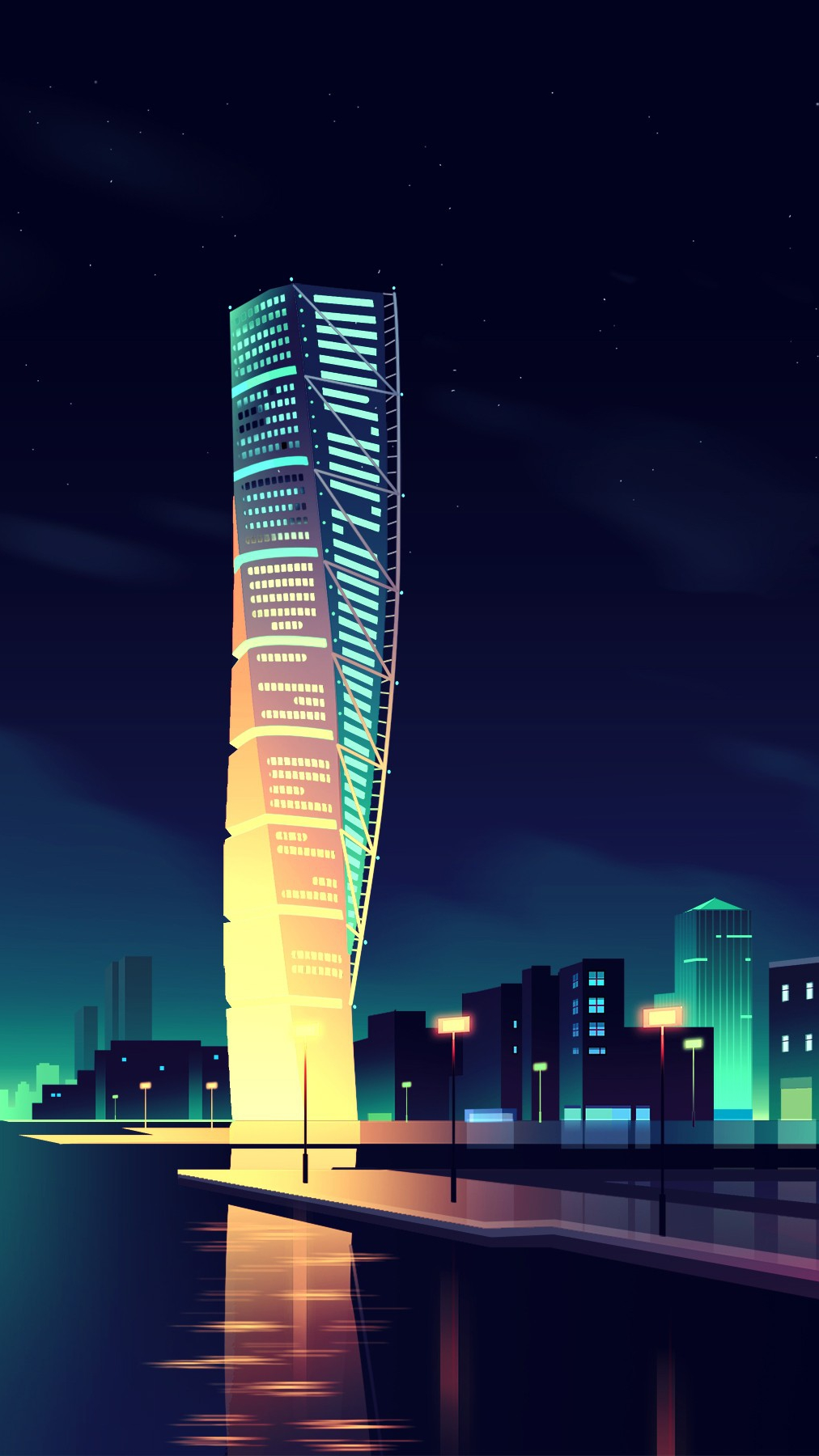 Animated Night City Wallpaper iPhone Wallpaper iphoneswallpapers com