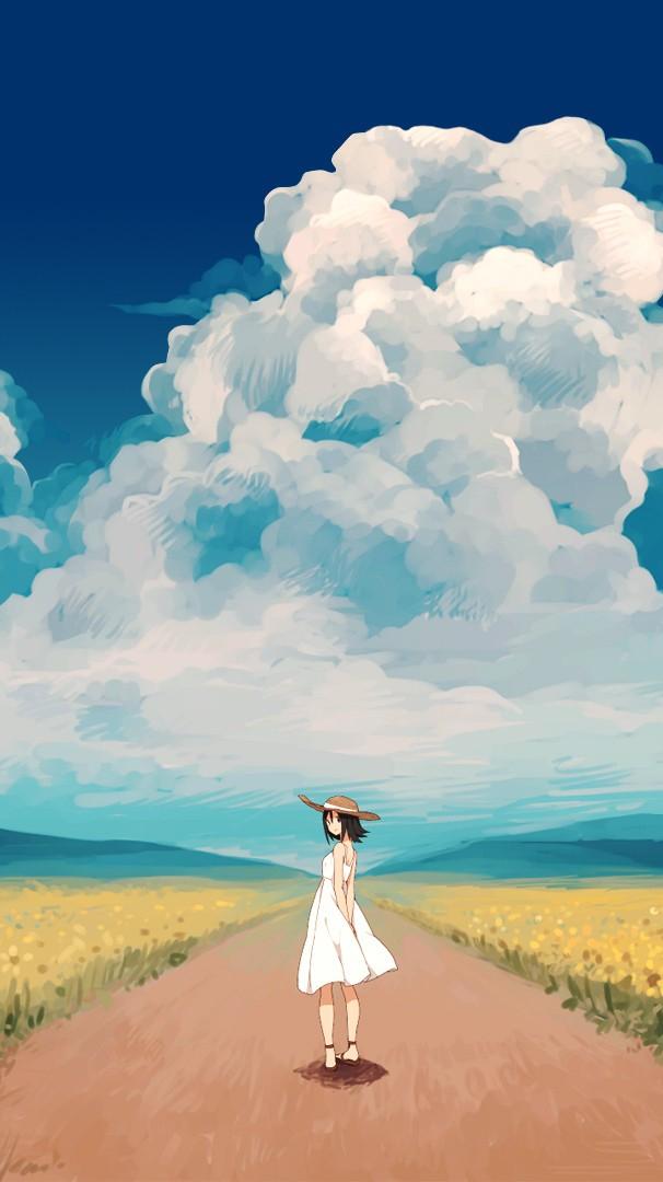 Anime Girl in Sunflower Farm Wallpaper iPhone Wallpaper iphoneswallpapers com