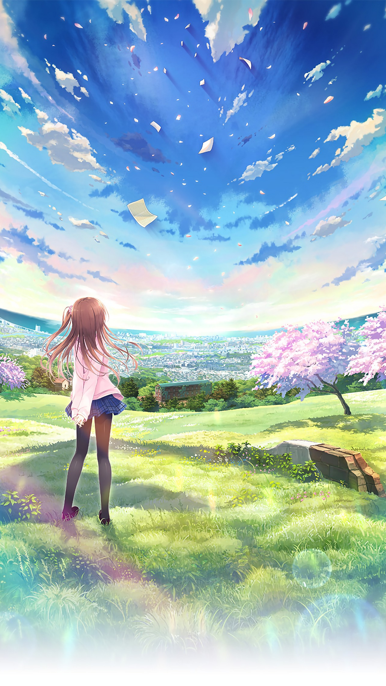 Anime world beautiful girl sky iphone wallpaper iphone - Beautiful girl anime wallpaper ...