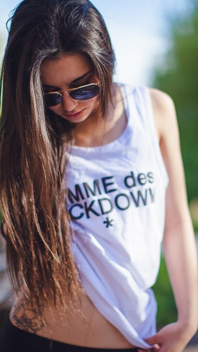 Aviator Sunglasses Girl Showing Waist Tattoo iPhone Wallpaper iphoneswallpapers com