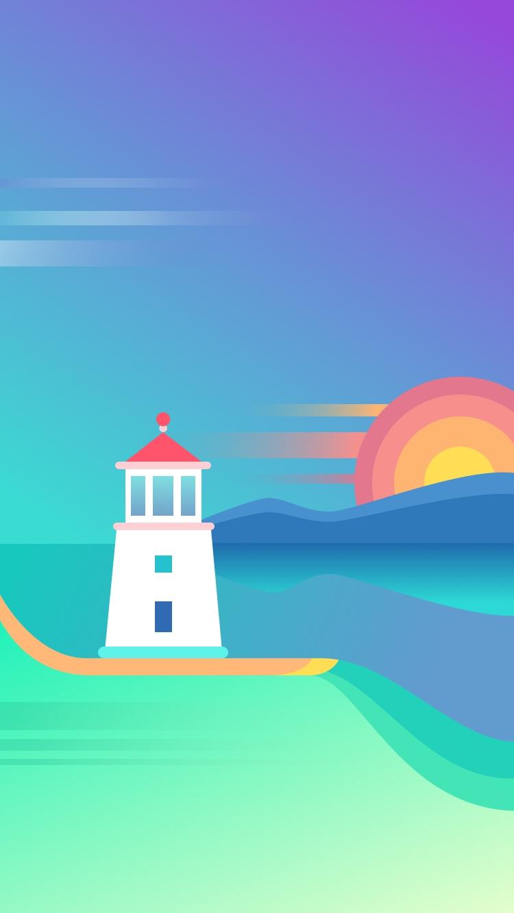 Beach Light House Sunset iPhone Wallpaper iphoneswallpapers com