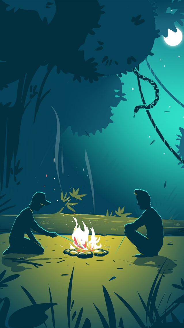 Camp Fire in Jungle iPhone Wallpaper iphoneswallpapers com