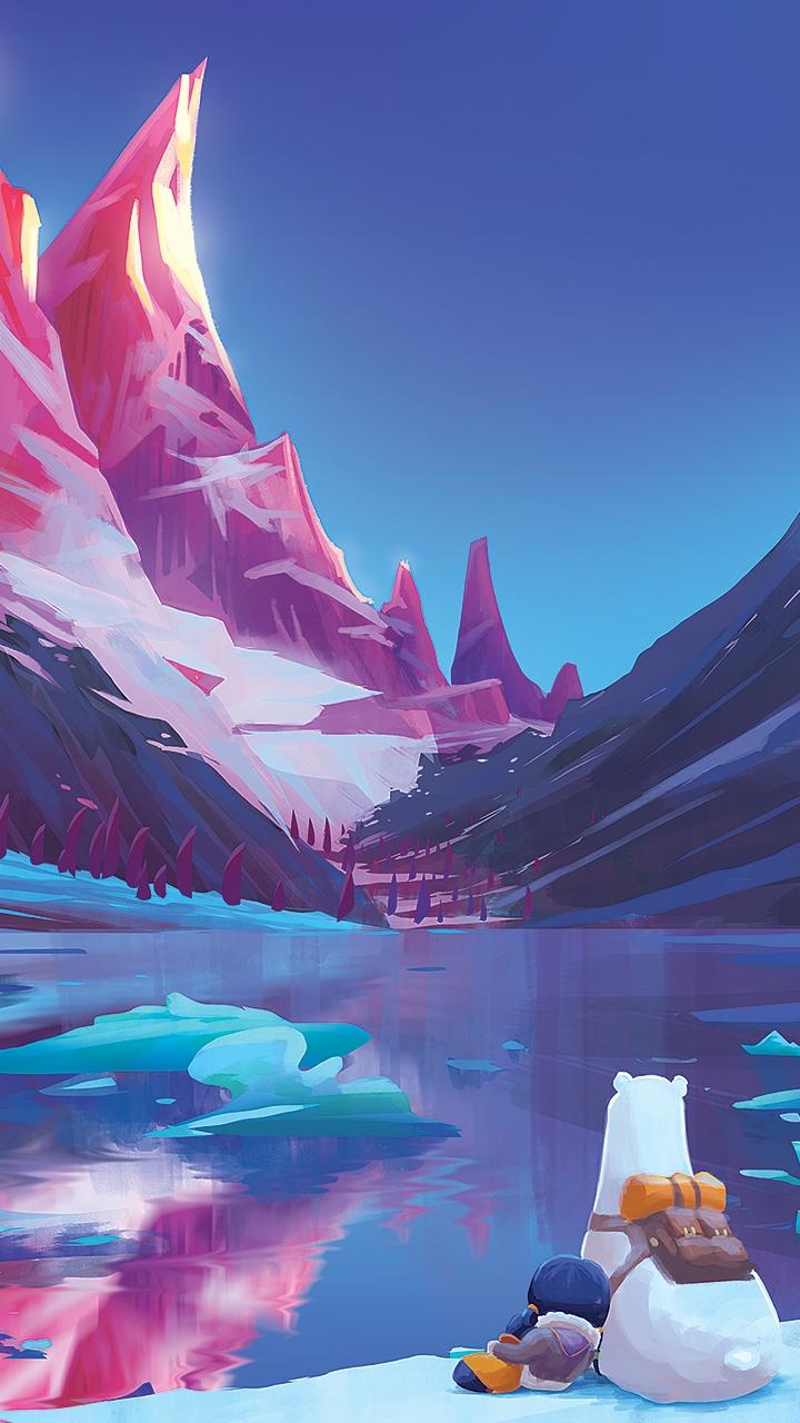 Cartoon Art Polar Bear Snow Mountain Lake iPhone Wallpaper iphoneswallpapers com
