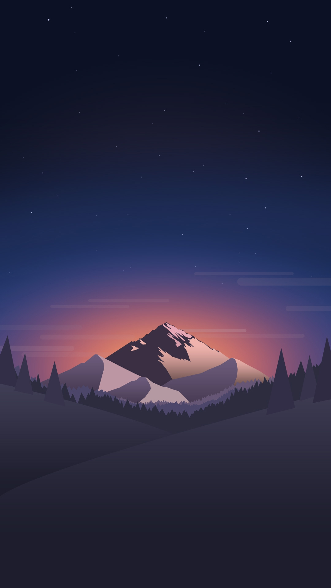 Digital-Minimal-Mountains-Forest-Night-iPhone-Wallpaper ...