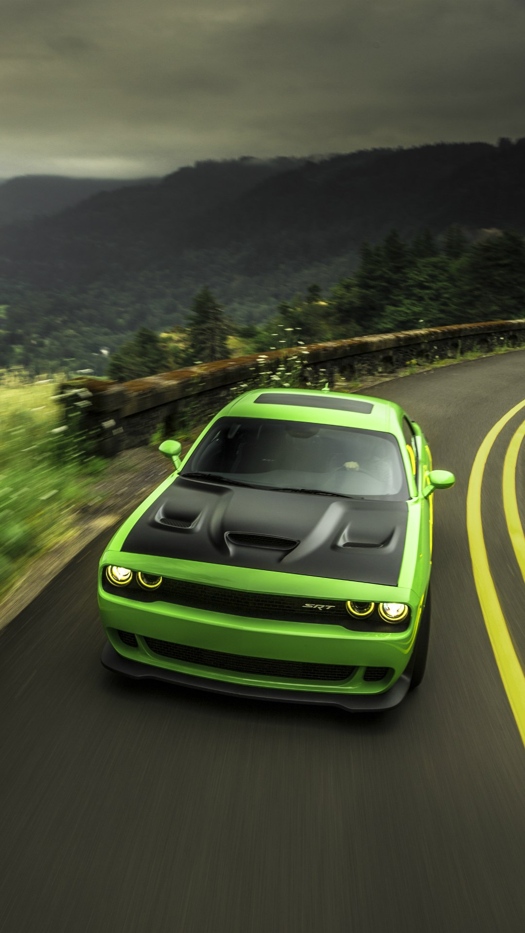 Dodge Challenger Srt Green Iphone Wallpaper Iphone