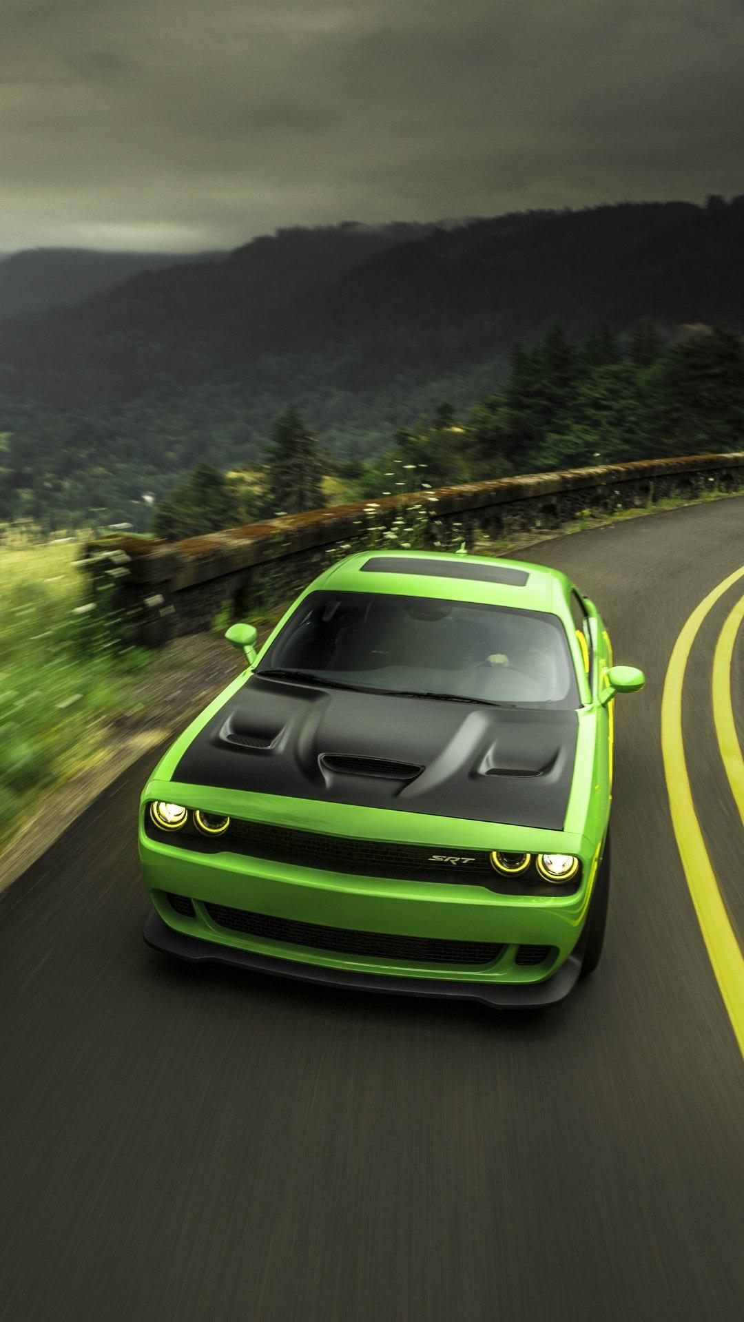 Dodge Challenger Srt Green Iphone Wallpaper Iphone