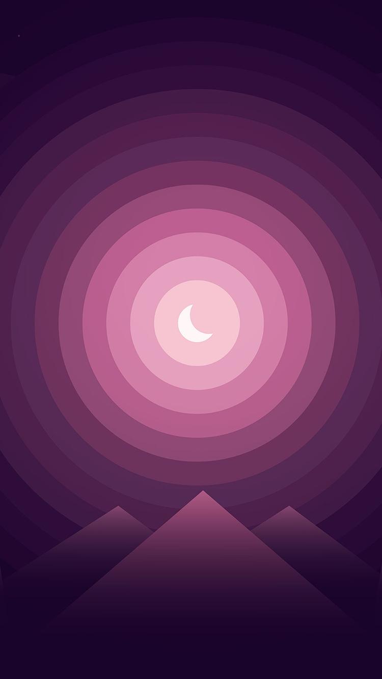 Gradient Moon over Mountains iPhone Wallpaper iphoneswallpapers com