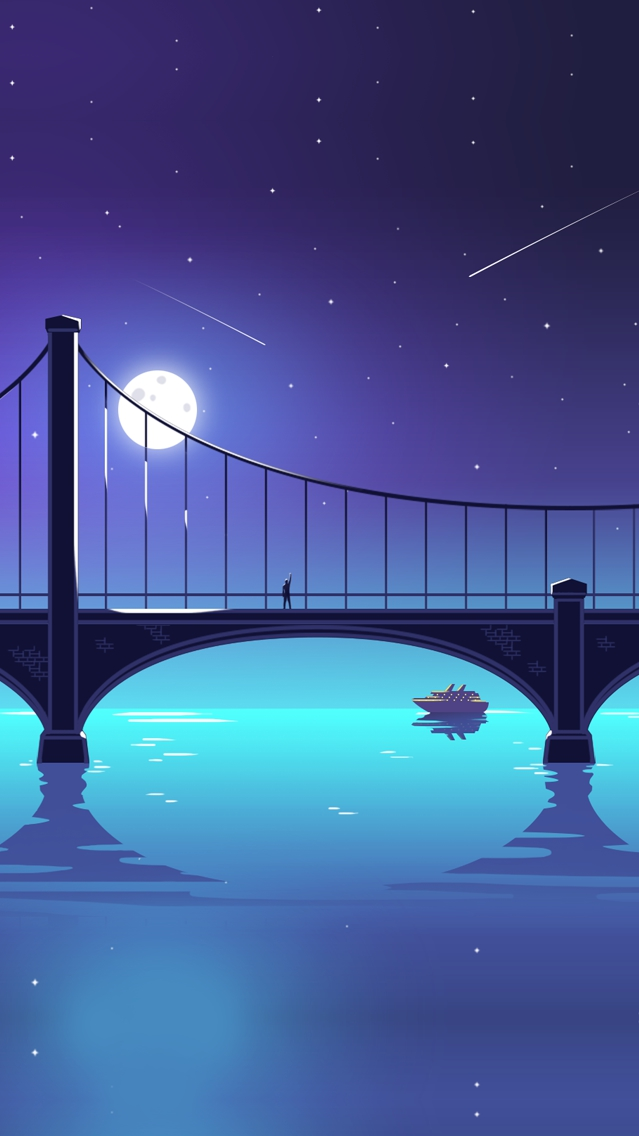 Guy Standing on Bridge Artistic Shooting Stars Moon iPhone Wallpaper iphoneswallpapers com