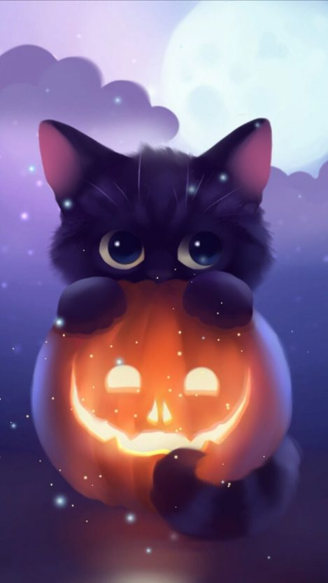 Halloween Kitten Pumpkin Art iPhone Wallpaper iphoneswallpapers com