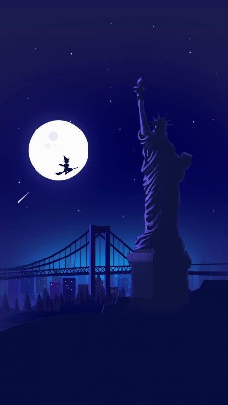 Halloween Witch at Statue of Liberty Holloween Night Moon iPhone Wallpaper iphoneswallpapers com